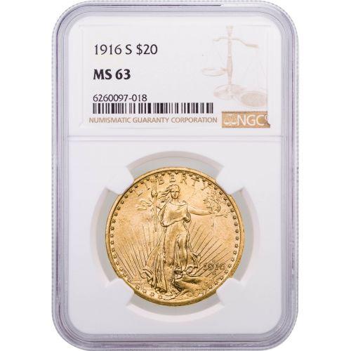 1916-S Saint-Gaudens $20 Gold Double Eagle NGC/PCGS MS63