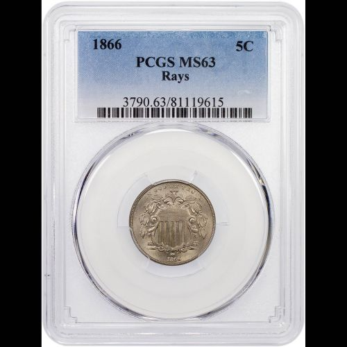 1866 Rays Shield Nickel NGC/PCGS MS63