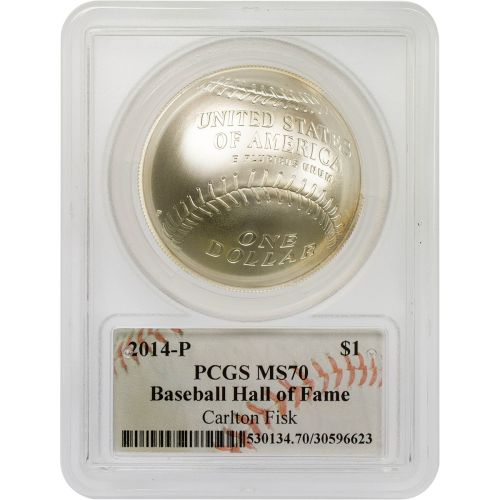 2014-P Carlton Fisk Signed Baseball Hall of Fame Commemorative Coin PCGS MS70