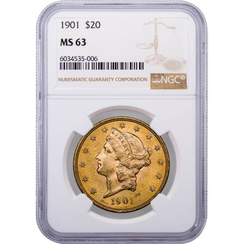 1901-P Liberty Head Gold Double Eagle MS63