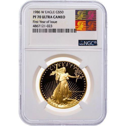 $50 1986 1oz American Gold Eagle NGC PF70 UCAM Reagan Label