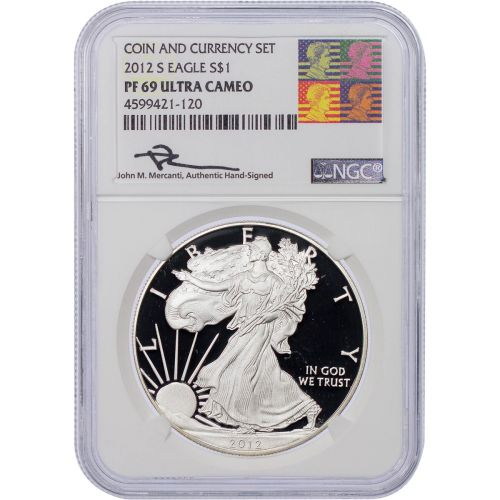 2012-S American Silver Eagle NGC PF69UCAM Reagan Mercanti with Signed Collector's Card
