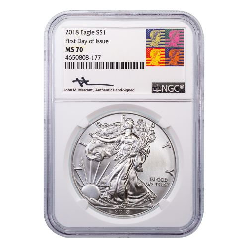 2018 American Silver Eagle MS70 First Day of Issue