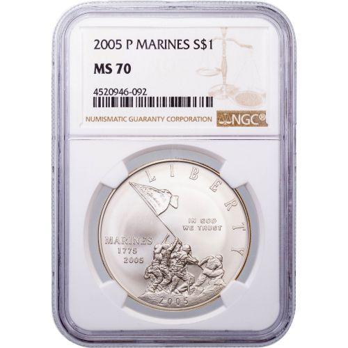 2005-P Marine Corps Commemorative Silver Dollar MS70