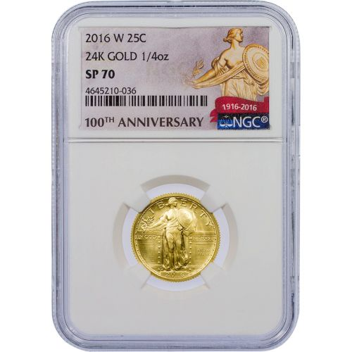 2016-W 1/4 oz 24K Gold Centennial Commemorative Standing Liberty Quarter NGC SP70