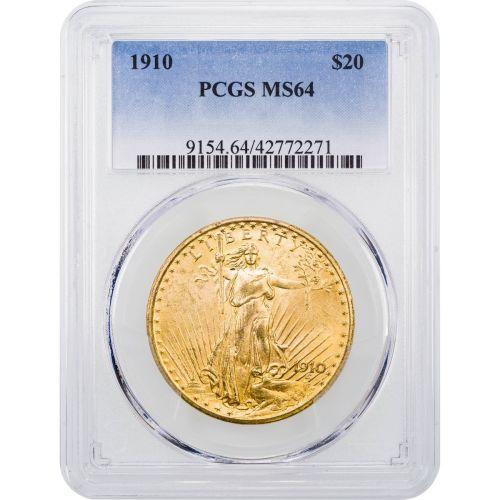 1910-P Saint Gaudens $20 Gold Double Eagle NGC/PCGS MS64
