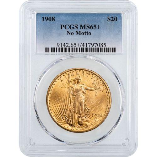 1908-P No Motto Saint Gaudens Gold Double Eagle NGC/PCGS MS65+