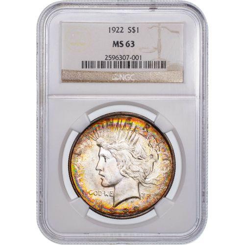 1922-P Peace Dollar NGC MS63 Toned