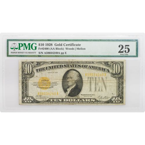 1928 Small Size $10 Gold Certificate VF25