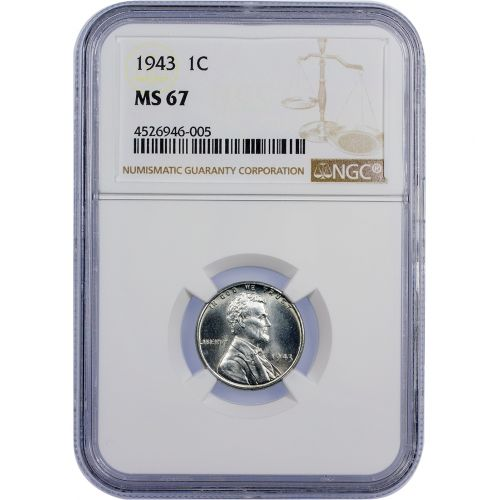 .01 1943-P Steel Lincoln Cent NGC/PCGS MS67