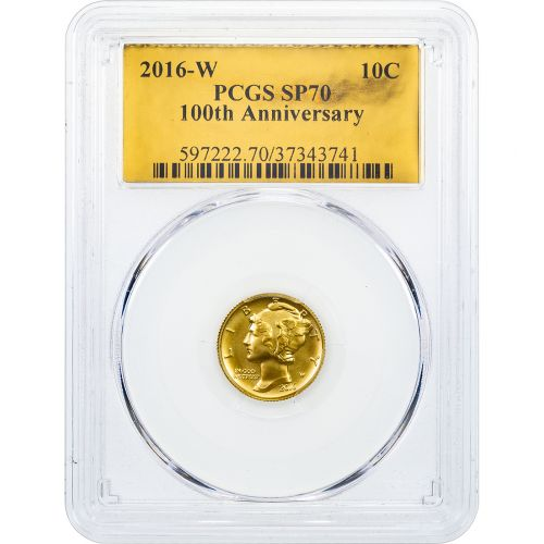 2016-W 1/10 oz 24K Gold Centennial Commemorative Mercury Dime SP70