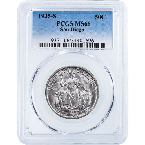 1935-S San Diego Commemorative Silver Half Dollar NGC/PCGS MS66