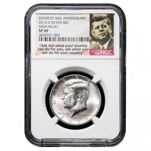 2014-D Silver Kennedy Half Dollar High Relief SP69