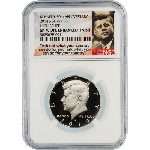 .50 2014-S High Relief Silver Kennedy Half Dollar Enhanced Finish NGC SP70DPL