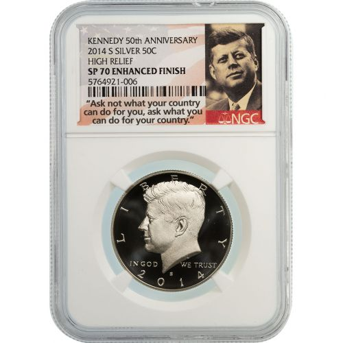 2014-S High Relief Silver Kennedy Half Dollar Enhanced Finish SP70