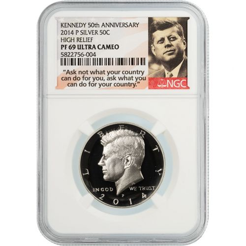 2014-P High Relief Silver Kennedy Half Dollar PF69 UCAM