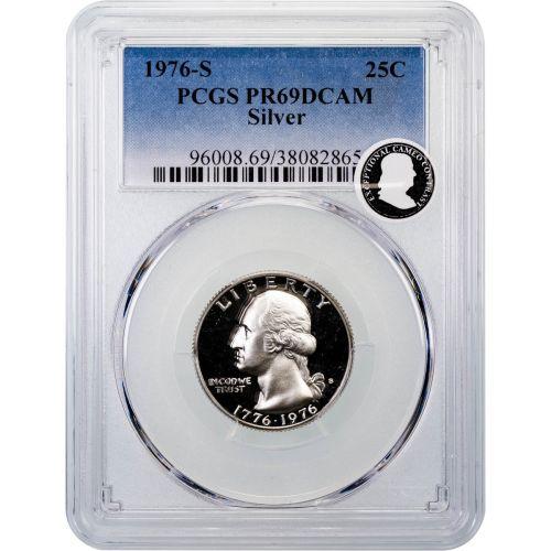 1976-S Silver Washington Quarter PCGS PR69DCAM ECC