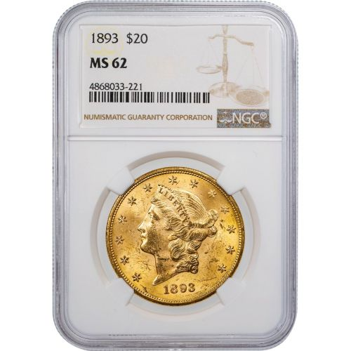 1893-P Liberty Head Gold Double Eagle MS62