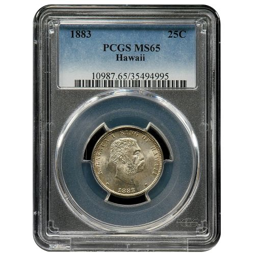 1883 Hawaii Quarter PCGS MS65