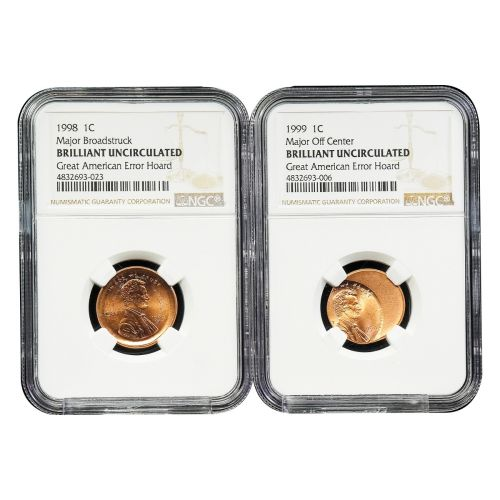 Set of 2: Lincoln Cent Major Off Center & Broadstruck