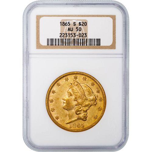 1865-S T1 Liberty Head Gold Double Eagle AU50