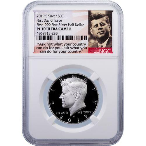 2019-S First .999 Fine Silver Kennedy Half Dollar PF70 Ultra Cameo FDOI