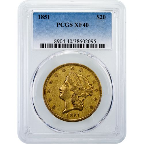 1851-P Liberty Head Gold Double Eagle XF40