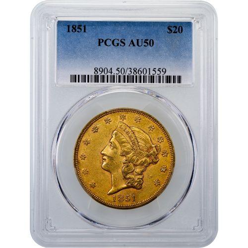 1851-P Liberty Head Gold Double Eagle AU50