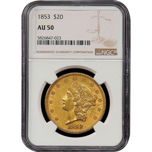 1853-P Liberty Head Gold Double Eagle AU50
