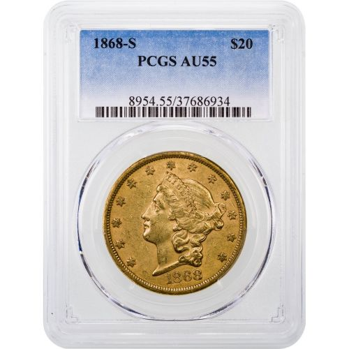1868-S Liberty Head Gold Double Eagle AU55