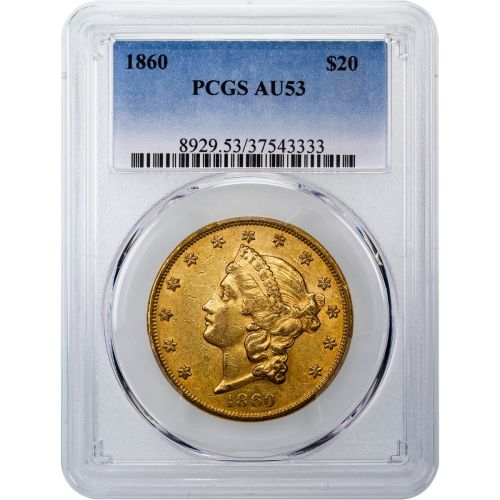 1860-P Type 1 Liberty Head Gold Double Eagle NGC AU53