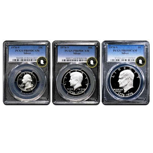 Set of 3: 1976-S Silver Bicentennial Set PR69 DCAM EVEREST