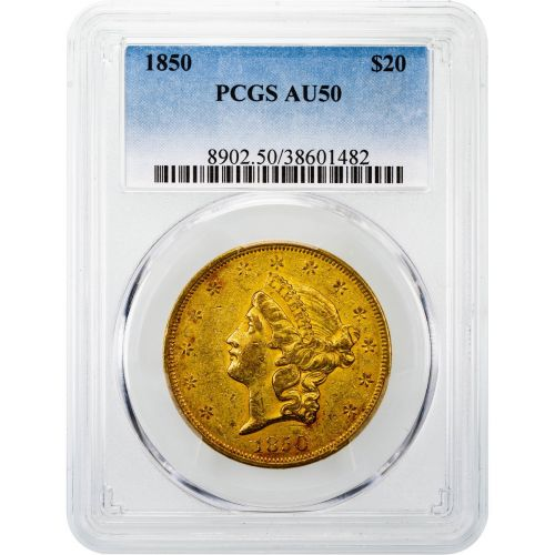 1850-P Liberty Head Gold Double Eagle AU50
