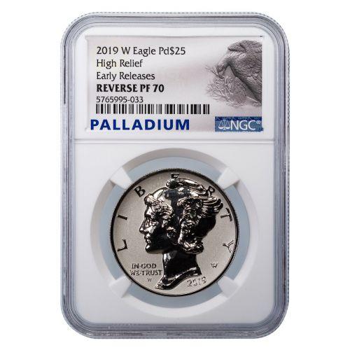 $25 2019-W High Relief Rev PF Palladium American Silver Eagle NGC PF70