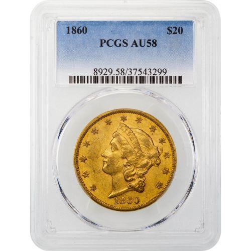 1860-P Liberty Head Gold Double Eagle AU58