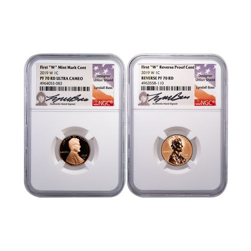 Set of 2: 2019-W Lincoln Cents NGC PF70RD UCAM & Rev PF70