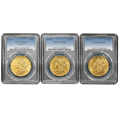 Set of 3: 1873-P - 1875-P T2 Liberty Gold Double Eagle MS60