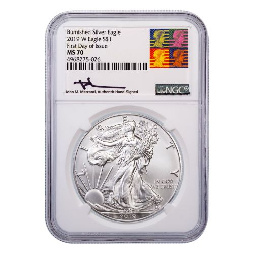 $1 2019-W Burnished American Silver Eagle NGC MS70 First Day of Issue