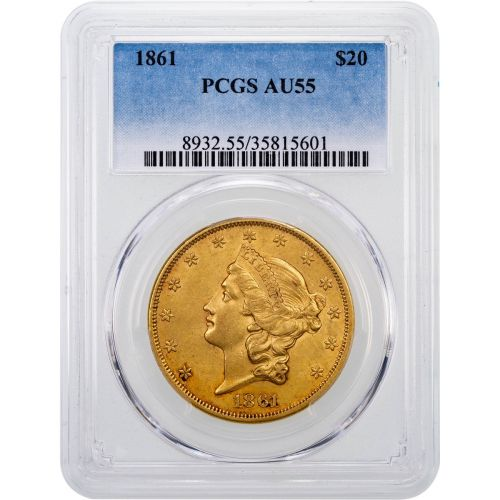 1861-P Liberty Head Gold Double Eagle AU55