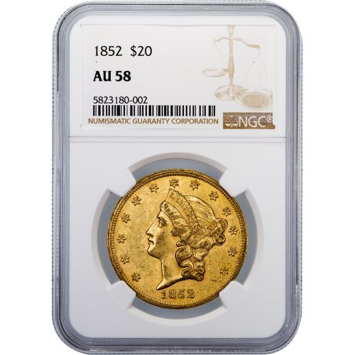 1852-P Liberty Head Gold Double Eagle AU58