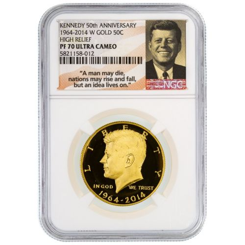 2014-W 3/4oz $.50 Gold Kennedy Half Dollar PF70 Ultra Cameo