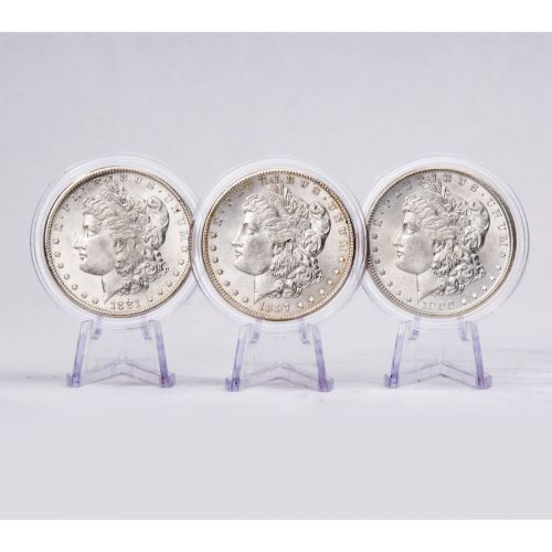 Set of 3: 1900-P, 1887-P & 1881-S Morgan Dollars BU