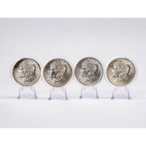 Set of 4: 1921-D, 1900-P, 1887-P & 1881-S Morgan Dollars BU