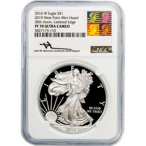2016-W (2019) American Silver Eagle PF70 UCAM W.P. Mint Hoard Reagan-Mercanti Label