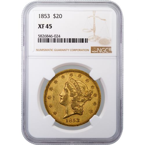 $20 1853-P Liberty Head Gold Double Eagle NGC/PCGS XF45