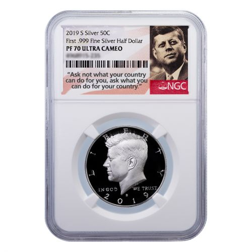 2019-S First .999 Fine Silver Kennedy Half Dollar PF70 Ultra Cameo