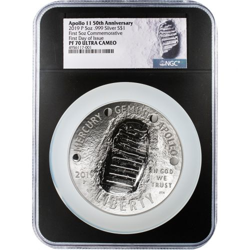 $1 2019-P Black Core 5oz Silver Apollo 11 50th Anniversary Commemorative Dollar NGC PF70 First Day of Issue