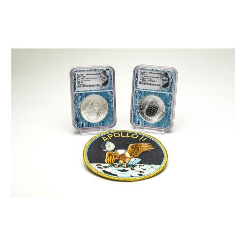 Set of 2: 2019-P Moon Core Apollo 11 50th Anniversary Commemorative Dollar NGC PF70 & MS70