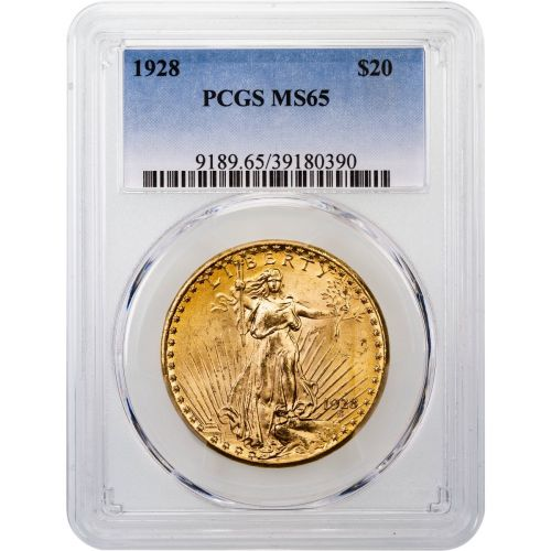 1928-P Saint-Gaudens Gold Double Eagle MS65