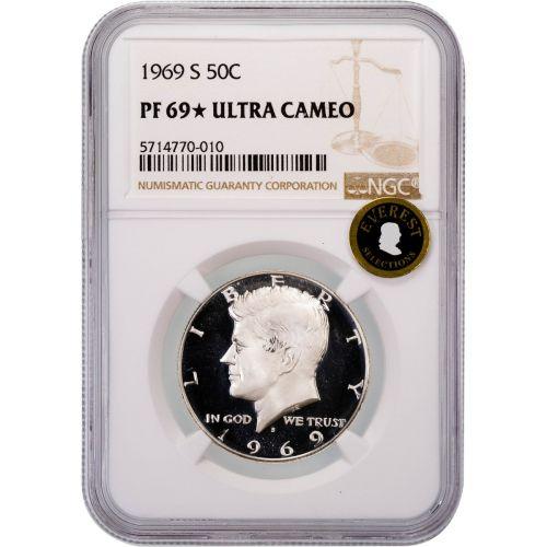1969-S Kennedy Half Dollar PF69 Star Ultra Cameo EVEREST